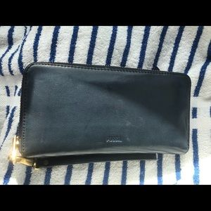 Fossil Wallet, Genuine Leather, Navy Blue